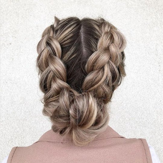 festival hairstyles double braided buns