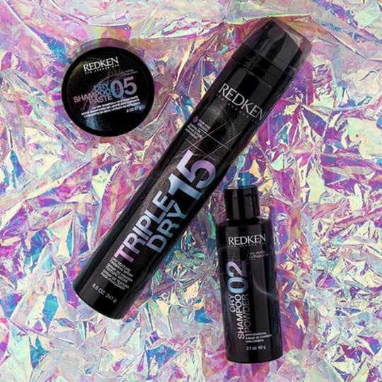 redken triple dry 15 on holographic backdrop