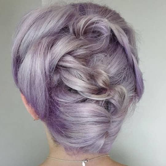 photo of lilac gray hair color