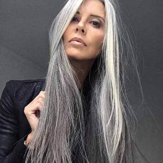 older woman with long grey hair