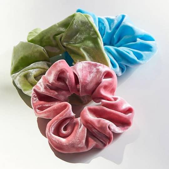 photo of velvet oversized hair scrunchies