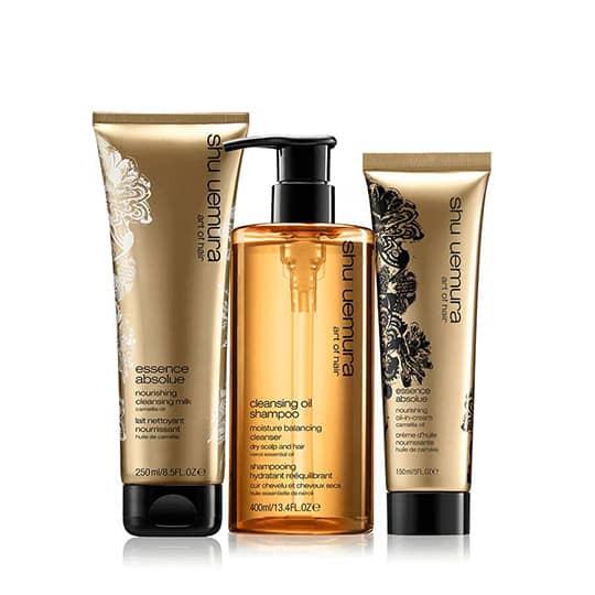 shu uemura cleansing oil very dry hair set