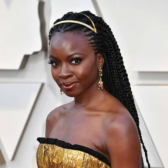 danai gurira showing red carpet hairstyles