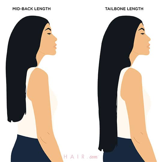 woman with two hair length chart