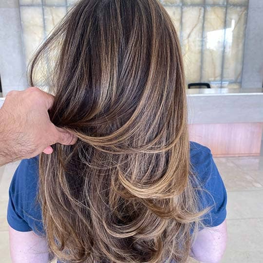photo of warm dimensional hair using redken shades eq