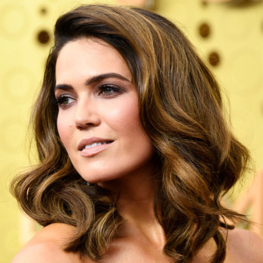 mandy moore's hair styled with red carpet hair products