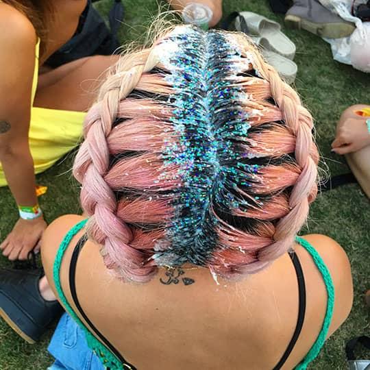 coachella hair blue and pink glitter braids