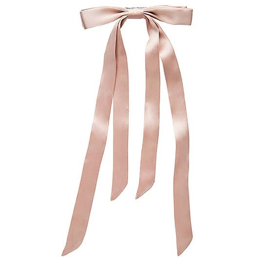 pink hair ribbon on a hair barrette
