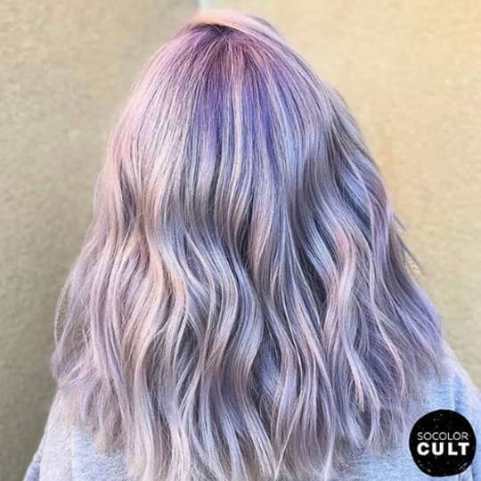 woman with lavender hair who needs acidic hair care
