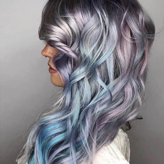 metallic hair color pastel blend