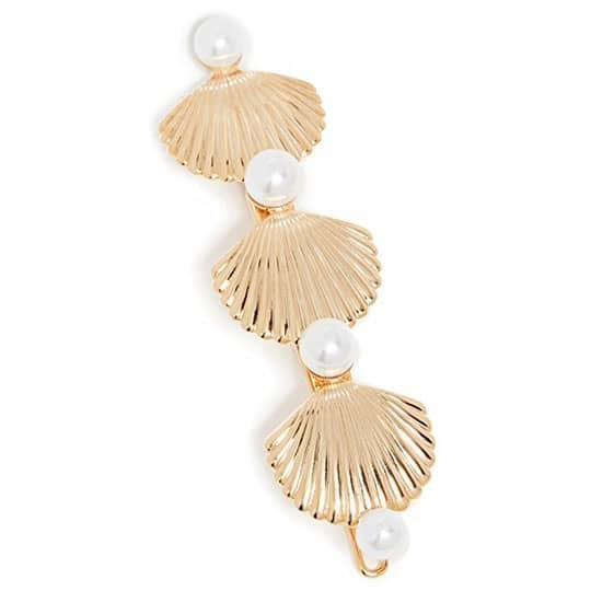 golden seashell hair barrette