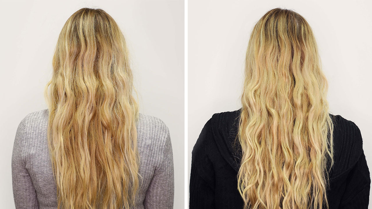 before and after of blonde using absolut repair masque