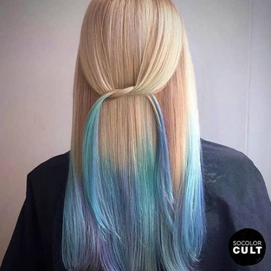 ombre hair blonde and baby blue