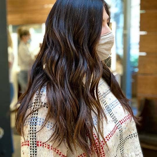 photo of dark chocolate hair color using redken shades eq