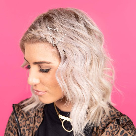 woman with triangle bobby pins hairstyle