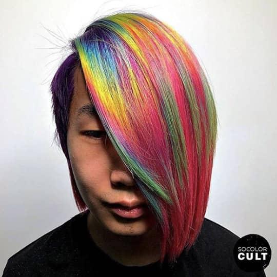 Rainbow asymmetrical cut
