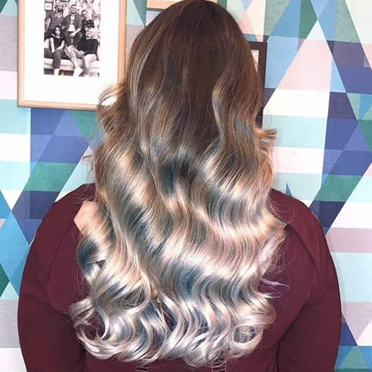 metallic hair color silver balayage