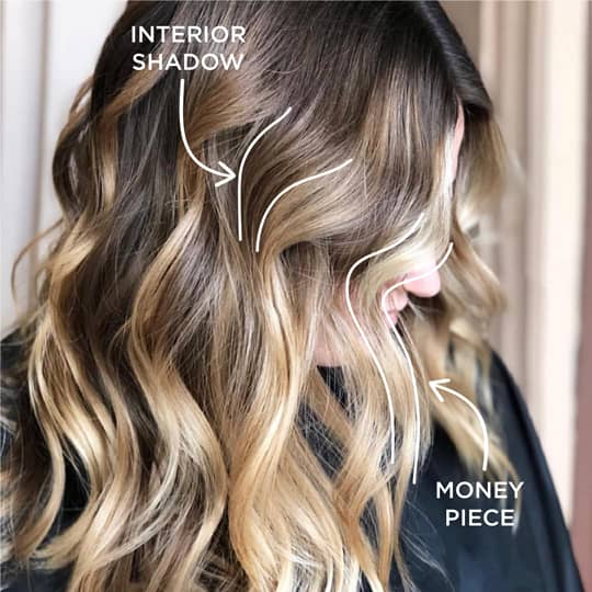 Popular hair color techniques, money piece and interior shadow