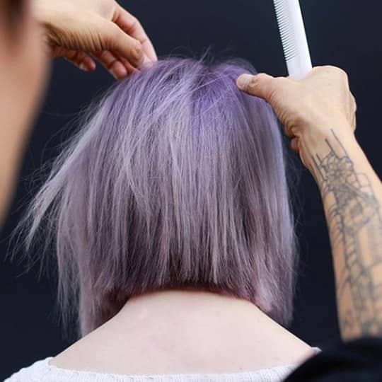 photo of violet and gray balayage