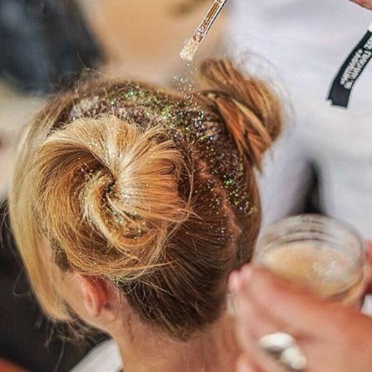 festival hairstyles glitter buns