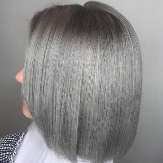 photo of woman with gray balayage