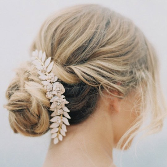 chignon updo with a hair accessory