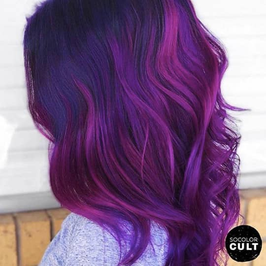 ombre hair purple and fuschia