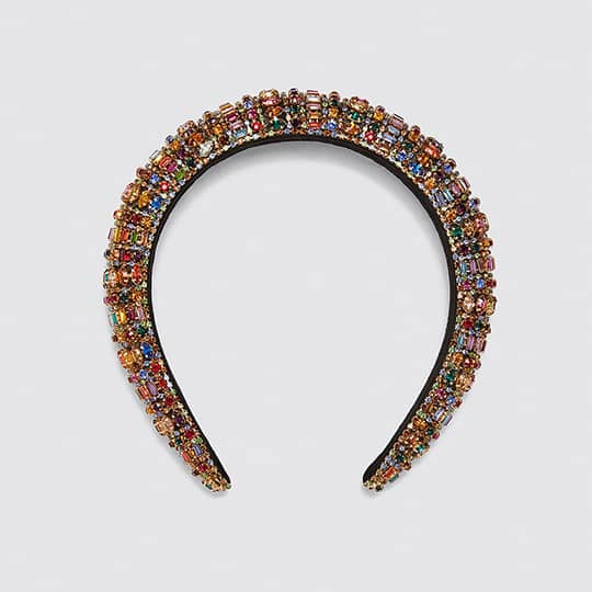 photo of padded headband with colorful jewels