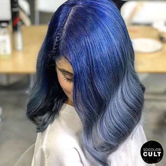 ombre hair royal blue and grey