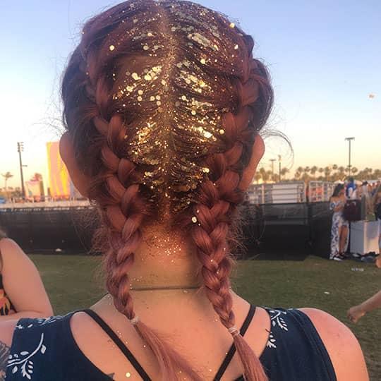 coachella hair red glitter braids