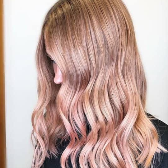 metallic hair color strawberry blonde