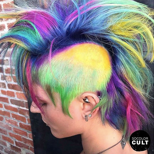 festival hairstyles multi color mohawk