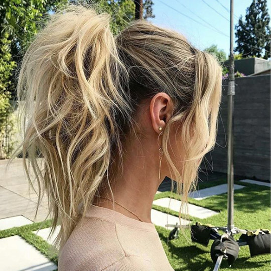 photo of teased ponytail hairstyle