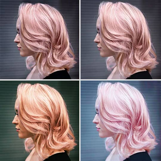 pink hair color app transformation