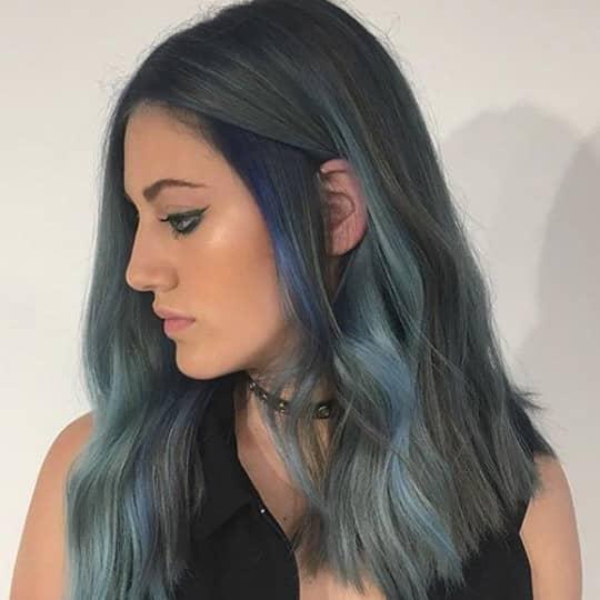 photo of turquoise and gray balayage