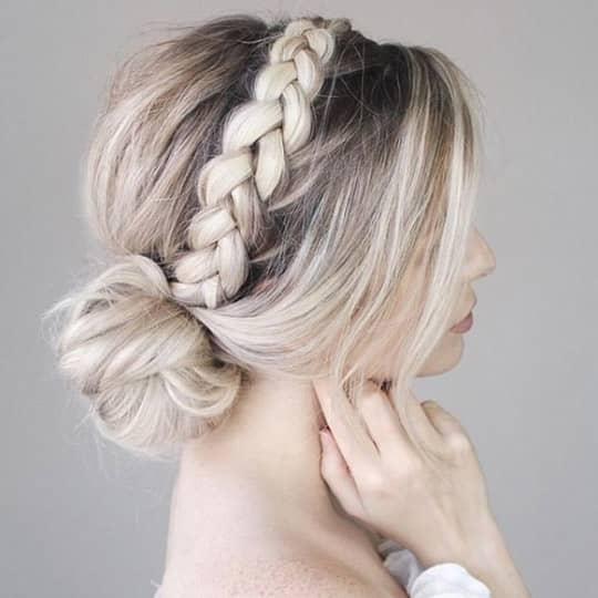 Braided headband bun