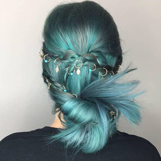 photo of gray teal hair color