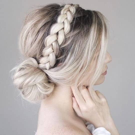 Braided headband bun